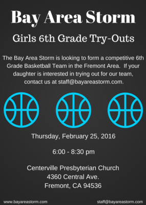 Bay Area Storm Girls 6th Grade Try-Outs