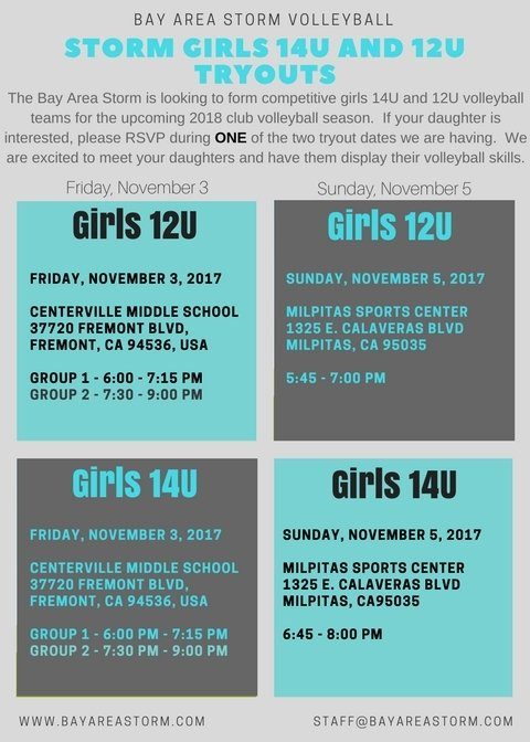 Bay Area Storm 2018 Girls Volleyball 14U and 12U Tryouts