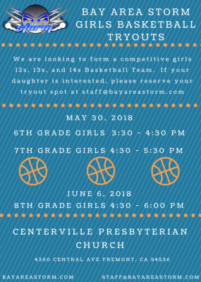 Bay Area Storm Girls Basketball Team Tryouts